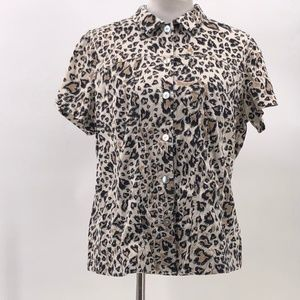 chico's additions 3 animal print button up shirt